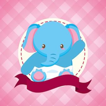 Elefante per scheda dell'acquazzone di bambino
