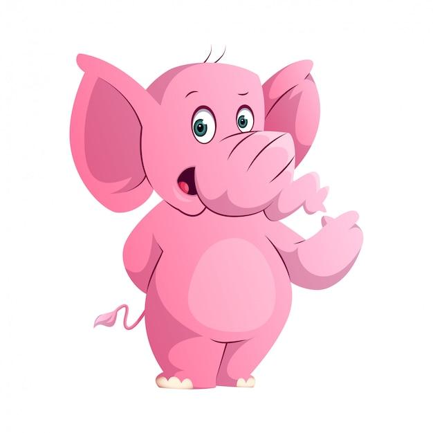 Elefante rosa sveglio che sta e che indica la sua mano