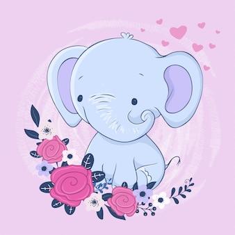 Elefante simpatico cartone animato con un mazzo di rose