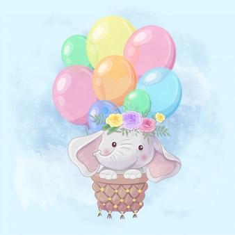Elefante simpatico cartone animato in mongolfiera
