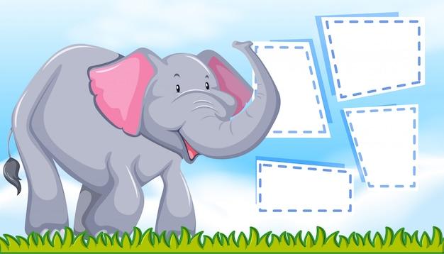 Elefante sul modello di nota