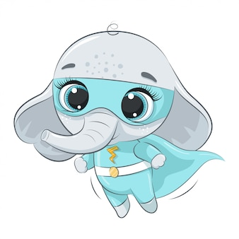 Elefante super eroe carino.