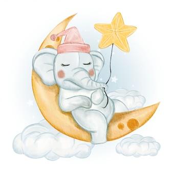Elefante sveglio che dorme sulla luna con le stelle