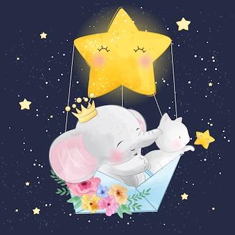 Elefante sveglio con piccolo gattino che vola nello spazio