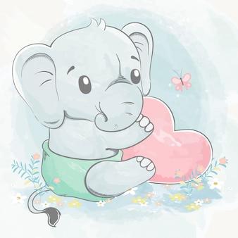 Elefante sveglio del bambino con l'illustrazione disegnata a mano del grande fumetto di colore di acqua del cuore