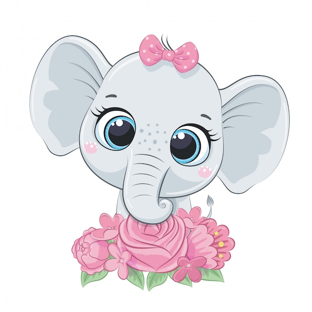 Elefante sveglio del bambino di estate con i fiori. illustrazione vettoriale per baby shower, cartolina d'auguri, invito a una festa, stampa t-shirt vestiti moda.