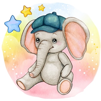 Elefante sveglio del neonato dell'acquerello che si siede sulla priorità bassa del raiinbow