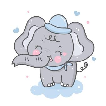 Elefante vettoriale su nuvola