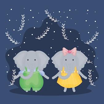 Elefanti coppia carina con personaggi vestiti