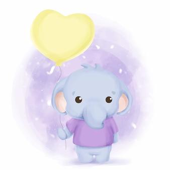 Elefantino e palloncino acquerello