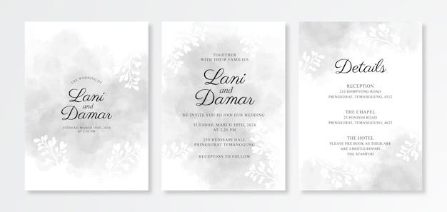 Elegante acquerello splash per modello di carta di invito a nozze