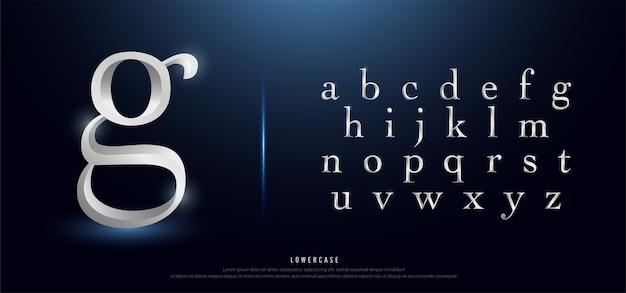 Elegante alfabeto in metallo argento con lettere minuscole