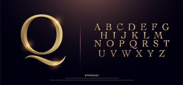 Elegante alfabeto in metallo dorato maiuscolo