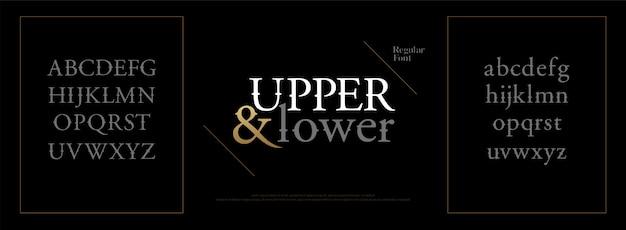 Elegante alfabeto lettere carattere lettering classico