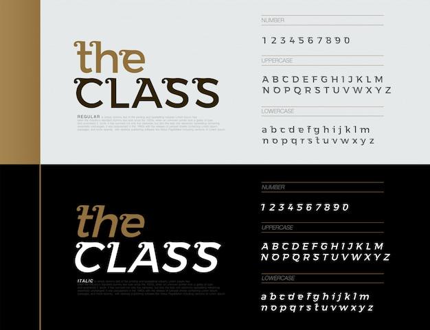 Elegante alfabeto lettere caratteri. lettere esclusive