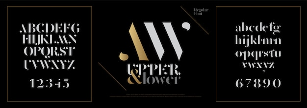 Elegante alfabeto lettere font. lettering classico