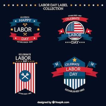 Elegante american adesivi giorno di lavoro in stile vintage