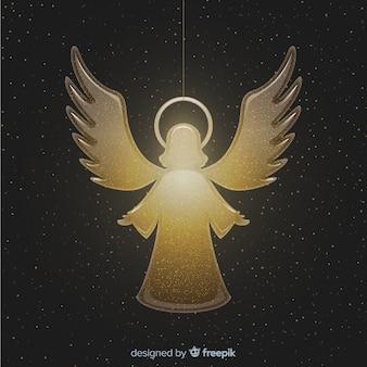 Elegante angelo d'oro di natale sfondo in design piatto