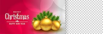 Elegante banner di Natale con lo spazio dell'immagine