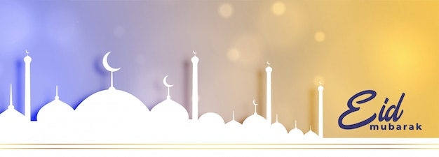 Elegante banner festival eid mubarak con design moschea