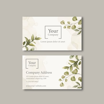 Elegante biglietto da visita con foglie di ornamento