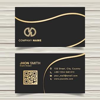 Elegante biglietto da visita nero con dettagli in nastro dorato