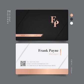 Elegante biglietto da visita rosa e oro professionale
