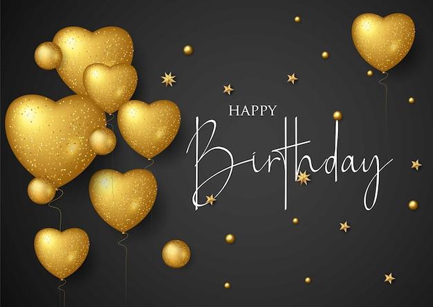 Elegante biglietto di auguri di compleanno con palloncini dorati e coriandoli che cadono