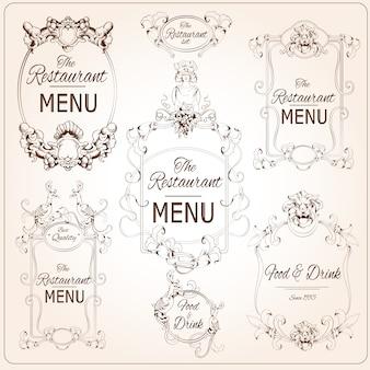 Elegante calligrafia floreale stile retrò ristorante menu etichette illustrazione vettoriale