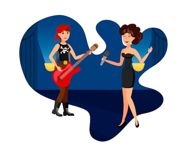 Elegante cantante femminile e rock star illustration