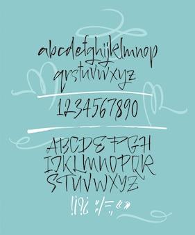 Elegante carattere tipografico pennello calligrafico con decori