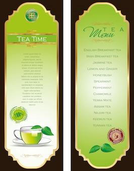 Elegante carta del menu del tè