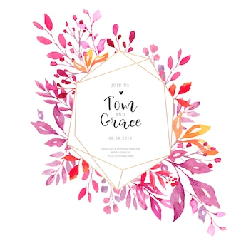 Elegante carta di invito a nozze con cornice poligonale