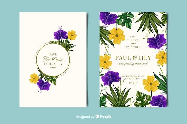 Elegante carta di invito a nozze floreali