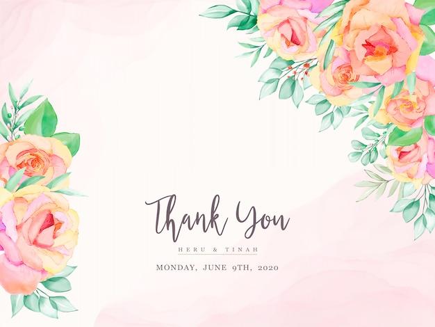 Elegante carta di invito matrimonio floreale ad acquerello
