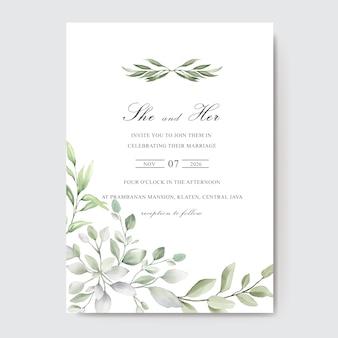 Elegante carta di invito per matrimonio ad acquerello