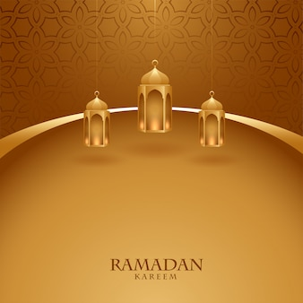 Elegante carta festival ramadan kareem tema dorato