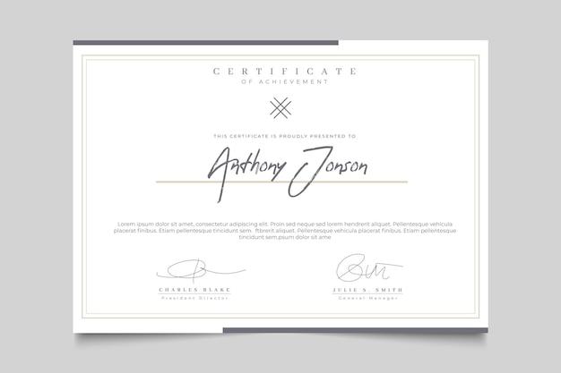 Elegante certificato con cornice