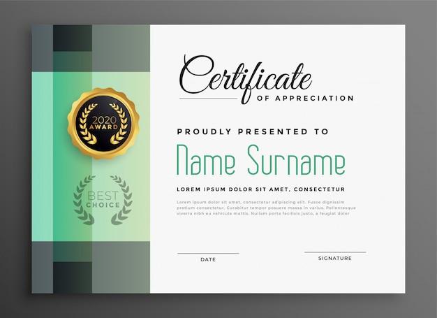 Elegante certificato di apprezzamento modello moderno