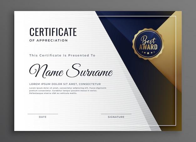 Elegante certificato di diploma di progettazione modello di successo