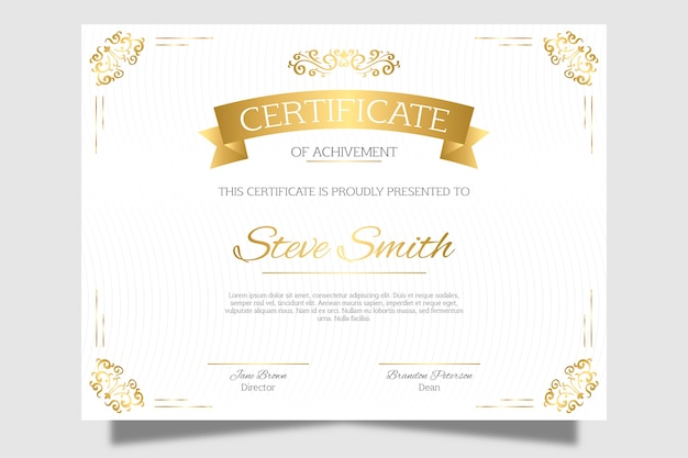 Elegante certificato di riconoscimento