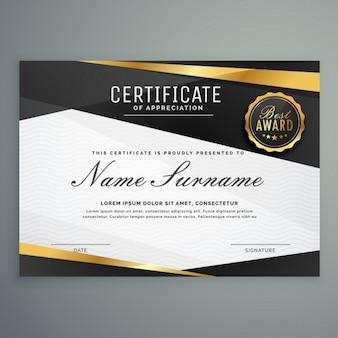 Elegante certificato di template premio apprezzamento in colore nero e dorato