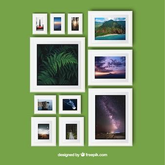 Elegante collage di cornici per foto con un design realistico