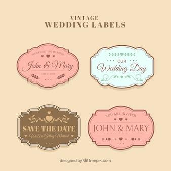 Elegante collezione di etichette per matrimoni