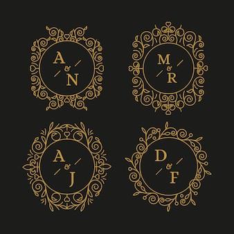 Elegante collezione di monogrammi di nozze