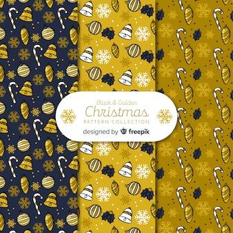 Elegante collezione di motivi natalizi neri e dorati