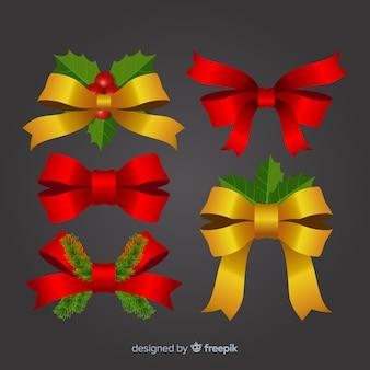 Elegante collezione natalizia in nastro rosso e oro