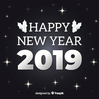 Elegante composizione del nuovo anno 2019 con uno stile argentato