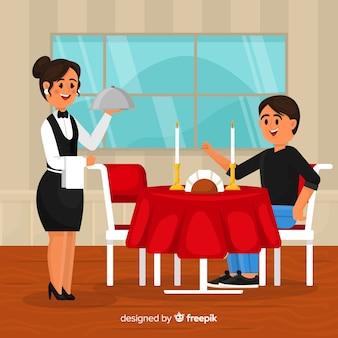 Elegante composizione del ristorante con design piatto