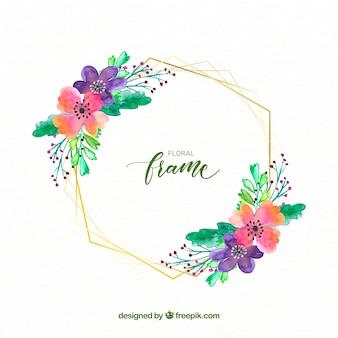 Elegante cornice floreale ad acquerello con linee dorate